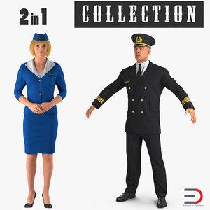 3D airline pilot stewardess model