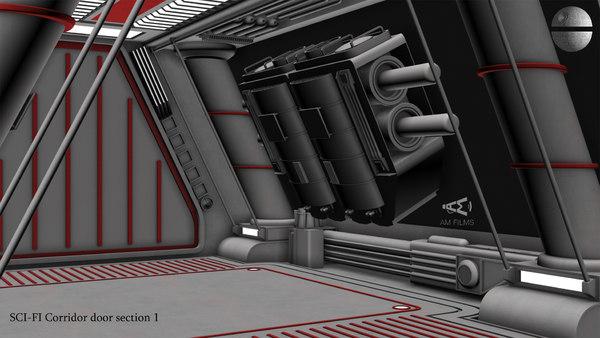 3D sci-fi corridor door section model