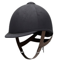 Classic Jockey helmet for horse-riding athlete.