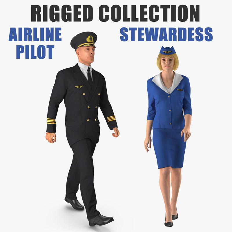 3D airline pilot stewardess rigged model
