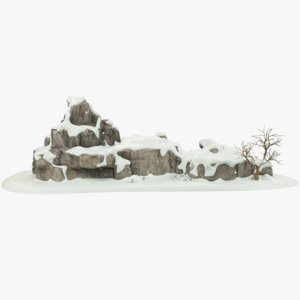 3D snowy rock tree