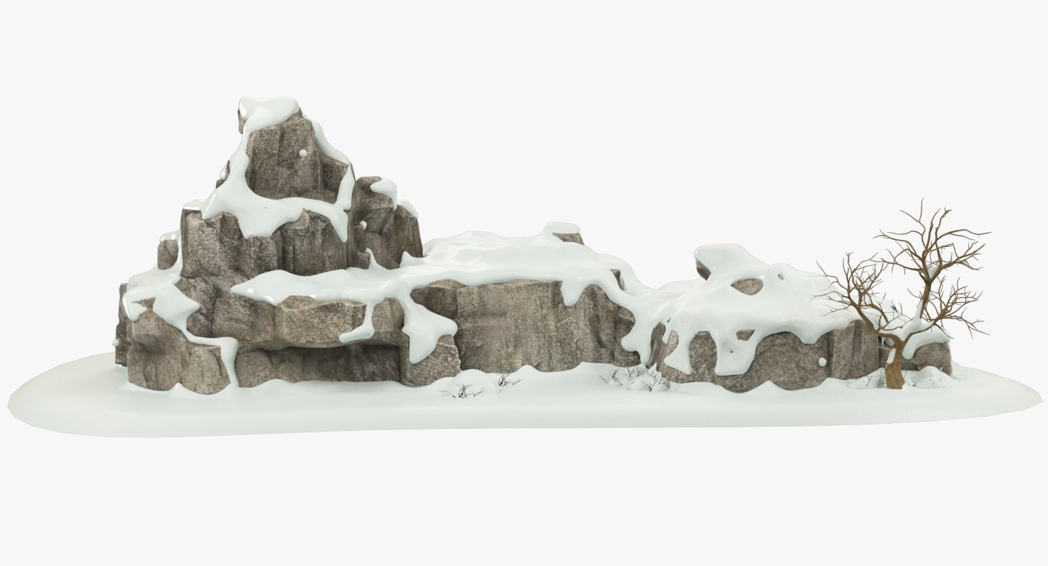 3D snowy rock tree