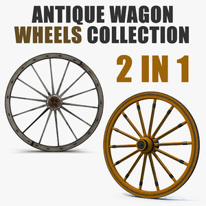3D antique wagon wheels