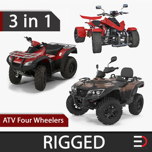 3D model atv wheelers rigged