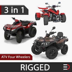 3D model atv wheelers rigged