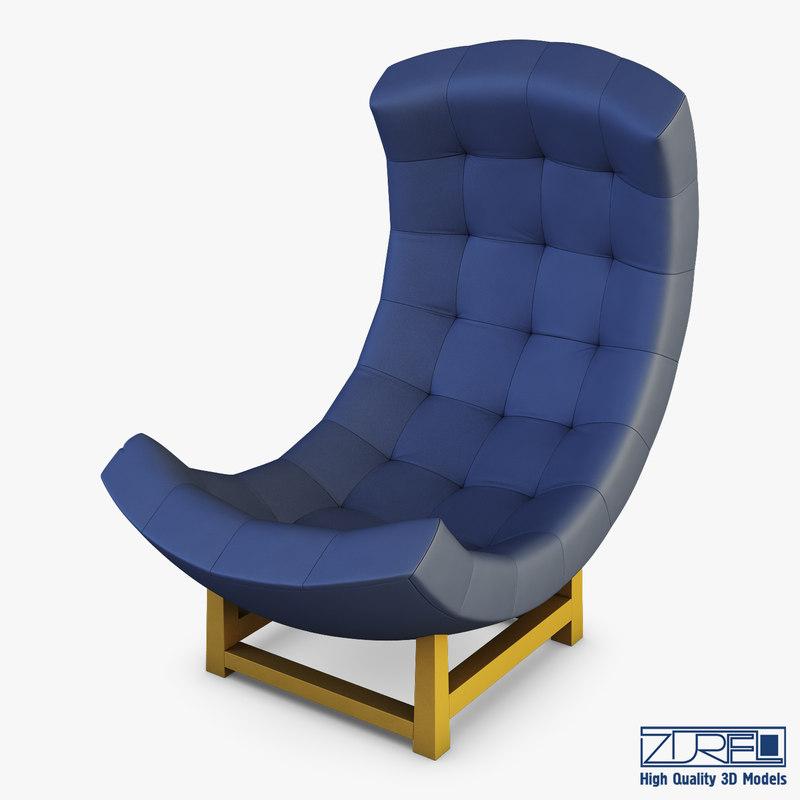 3D model luna armchair