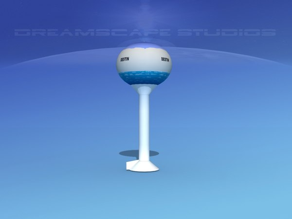 modern water tower 3D model