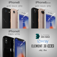 3D apple 8plus x iphone model