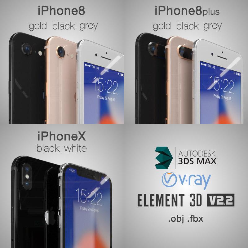 3D apple 8plus x iphone model
