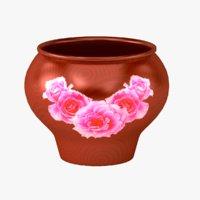 3D pot ceramics patterned model