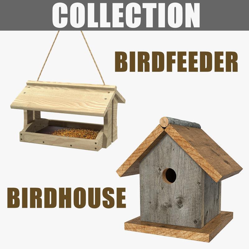 3D bird feeder birdhouse