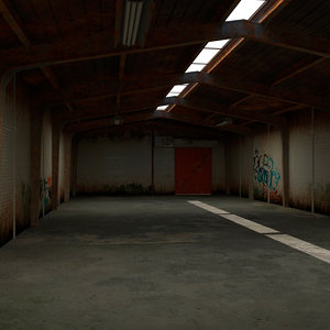 3D old small warehouse