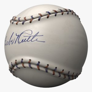 baseball ball babe ruth 3D model