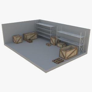 3D industrial shelving wood box model