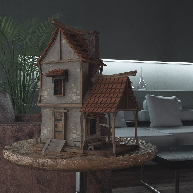 cartoon house scene 3D model