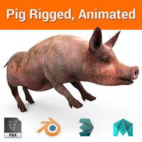 pig Rigged, Animated