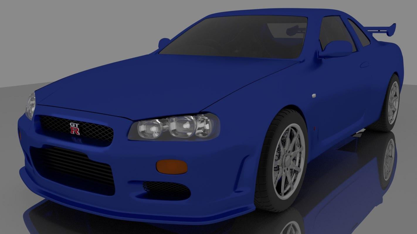 3D model nissan skyline gtr r-34