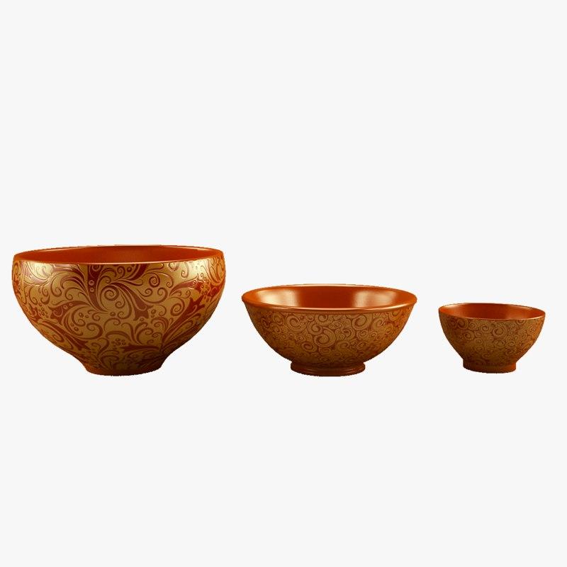 cups ceramics patterned 3D model
