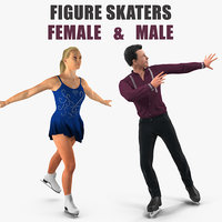 3D model male female figure skaters