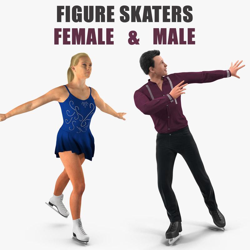3D model male female figure skaters
