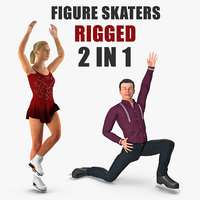 rigged figure skaters 3D