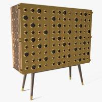3D cabinet wood metal model