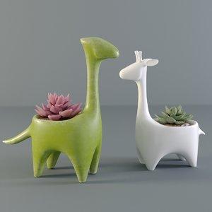 succulents pots 3D model