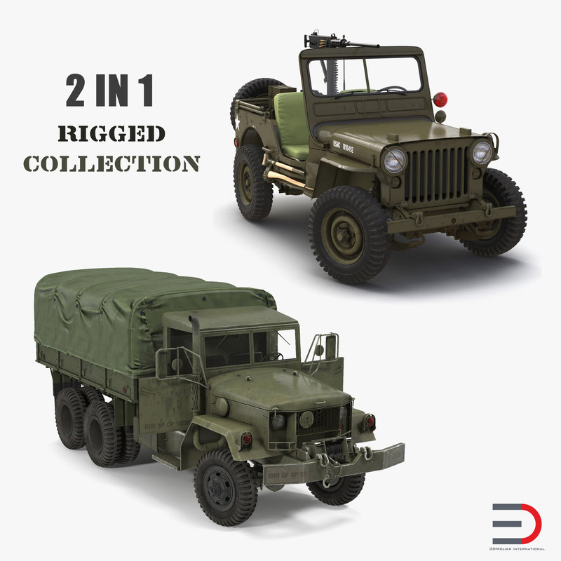3D wwii rigged vehicles model