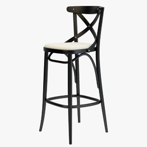 3D thonet barstool 150 black model
