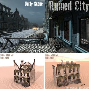 3D houses ruins