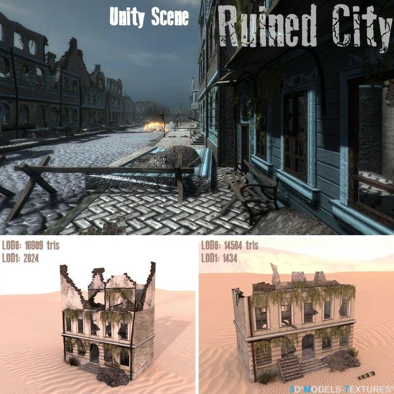 3D houses ruins