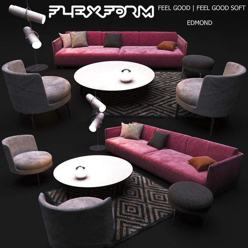 set furniture flexform 3D model