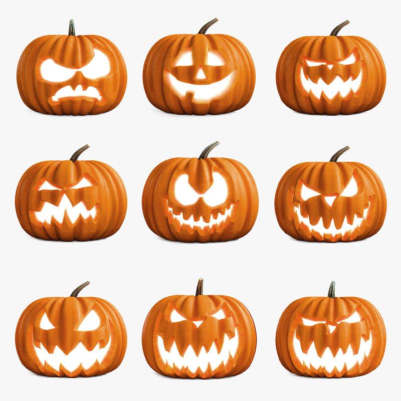 halloween pumpkins set 3D
