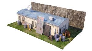 wooden barracks 3D model