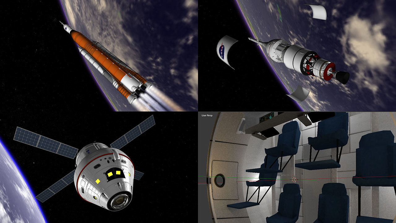 3D nasa space launch orion