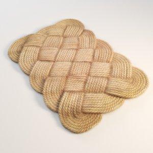 3D model braided rug jute rope