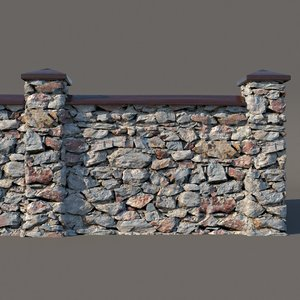 3D model fence rock sections