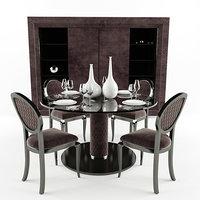 elegant velvet lacquered dining chair 3D model