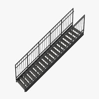 3D model exterior staircases straight