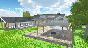3D modern old barn