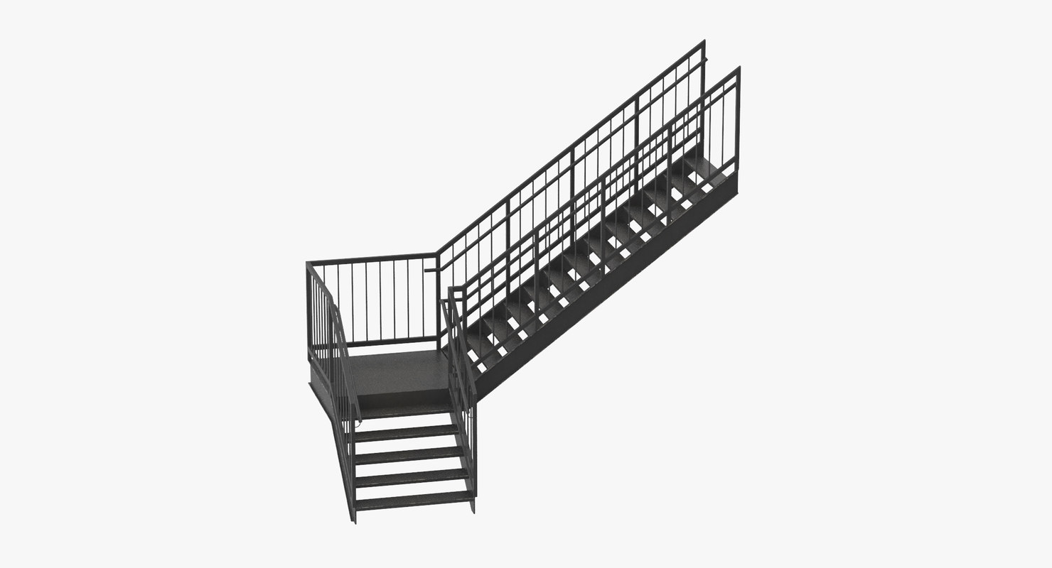 3d model exterior staircases l shape turbosquid 1213156 exterior staircase l shape