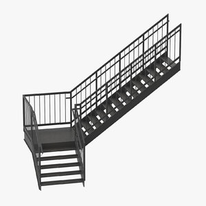 3D model exterior staircases l-shape