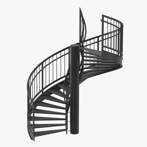 3D exterior staircases spiral model