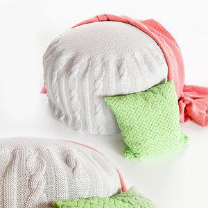 knitting pouf 3D model