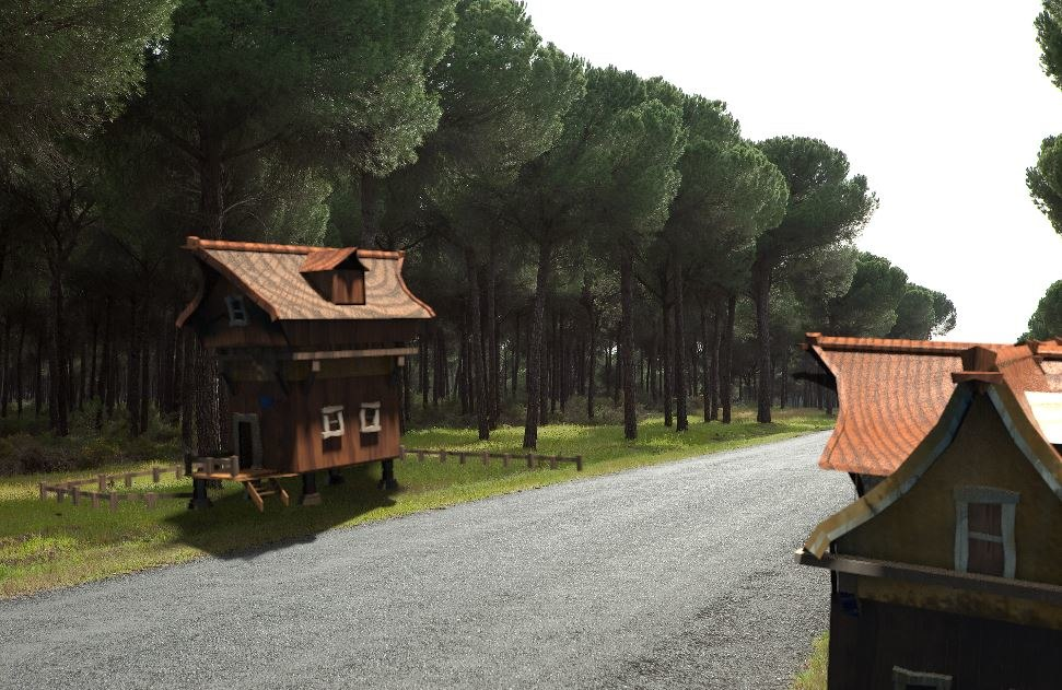 3D wooden buildings