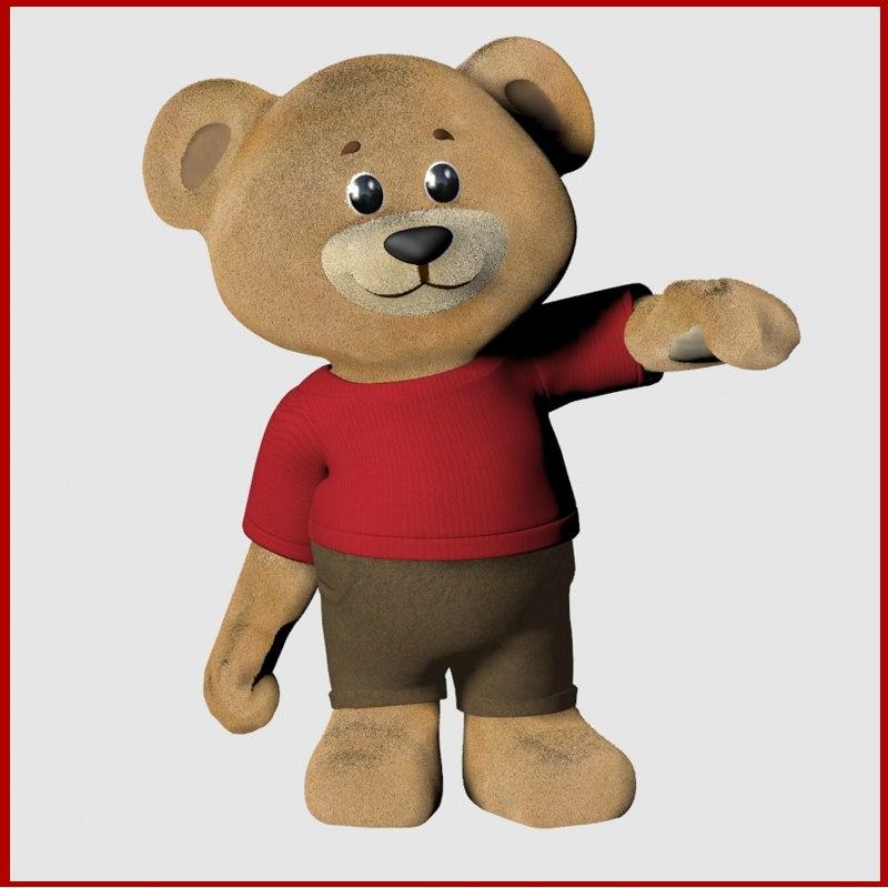 3D teddy bear rigged fur