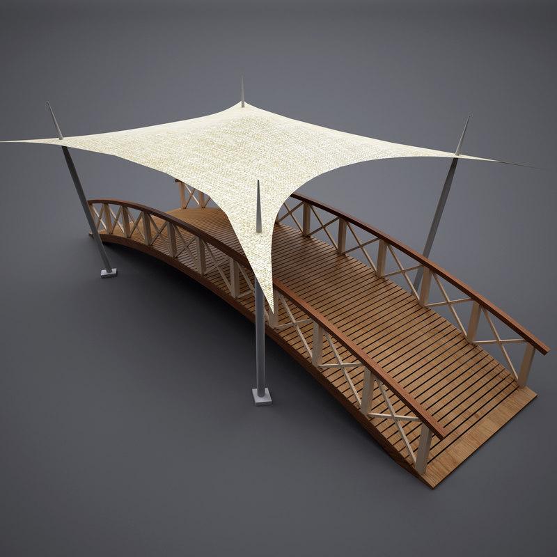 wooden bridge tent 3D & Wooden bridge tent 3D - TurboSquid 1213249