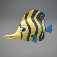 3D model cartoon fish