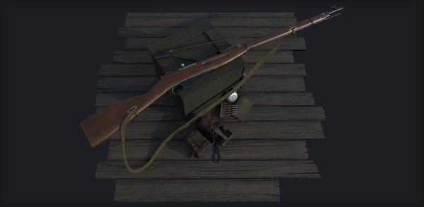 3D mosin nagant m1891-30 rifle
