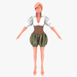 medieval costume 3D model